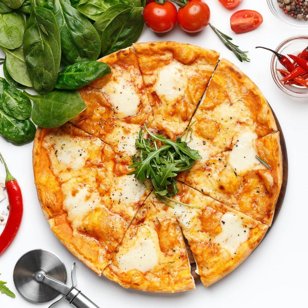 Italian Mozzarella Pizza On White Table, Top View